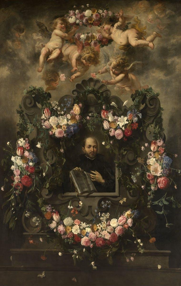 Cornelis Schut I, Daniël Seghers, Jan van Balen, Heilige Ignatius van Loyola in een bloemenkrans