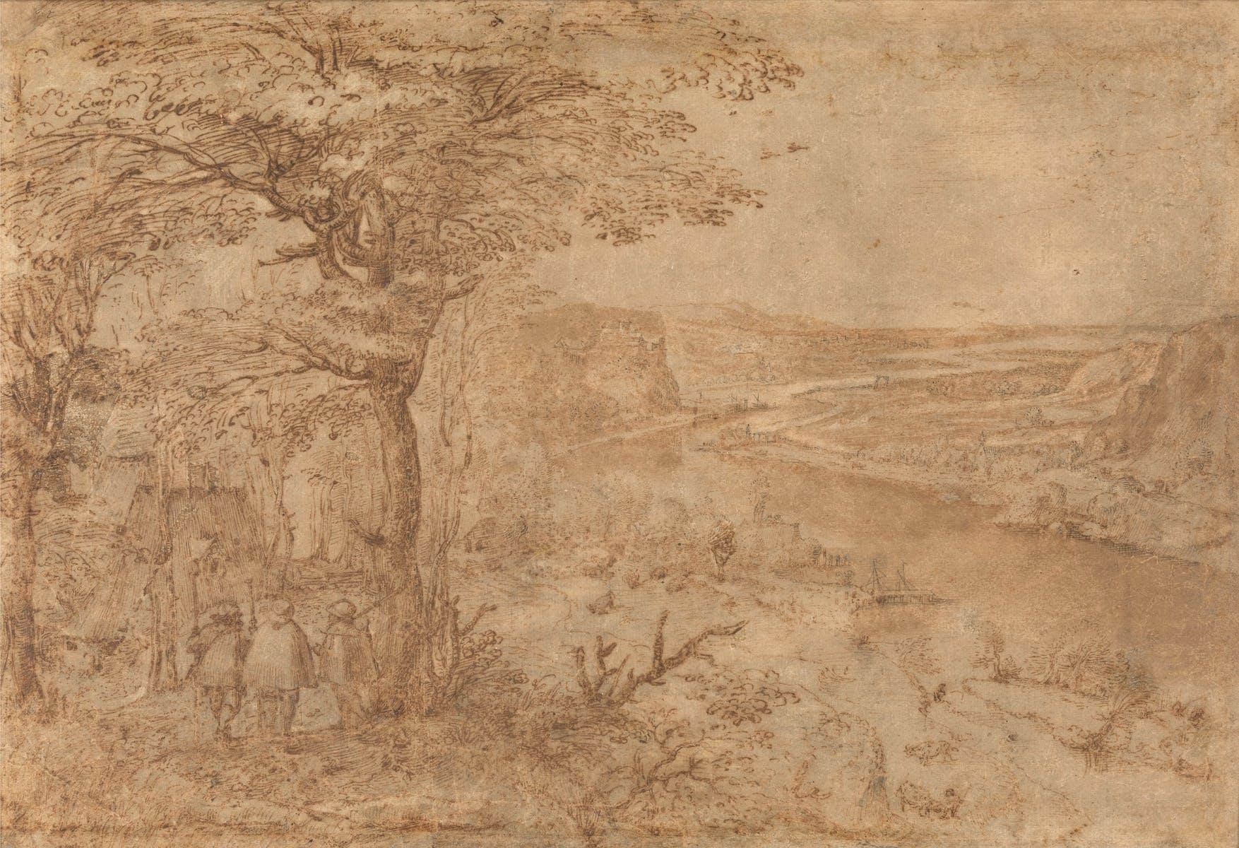 Pieter Bruegel the Elder, Hilly landscape with Three Pelgrims