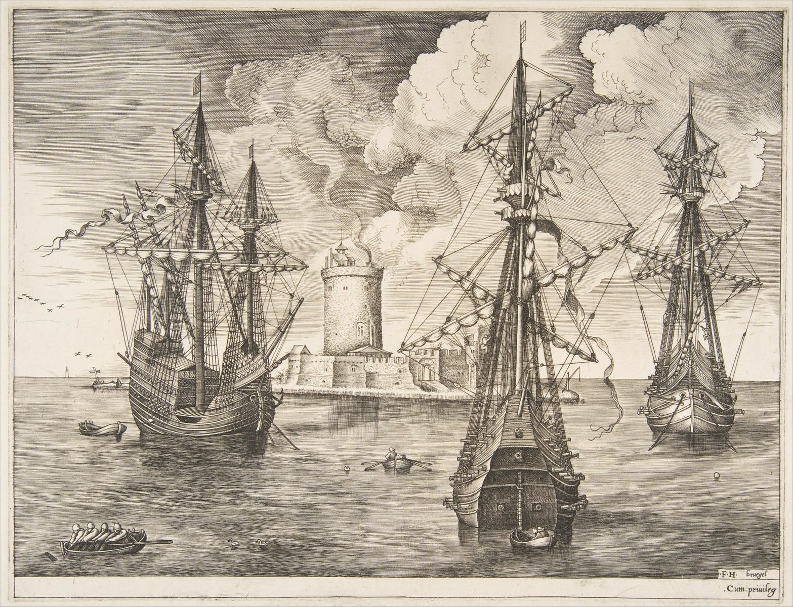 Pieter Bruegel the Elder, One four-masted and two armed three-masted ships anchored off a fortified island with a lighthouse, engraving and etch