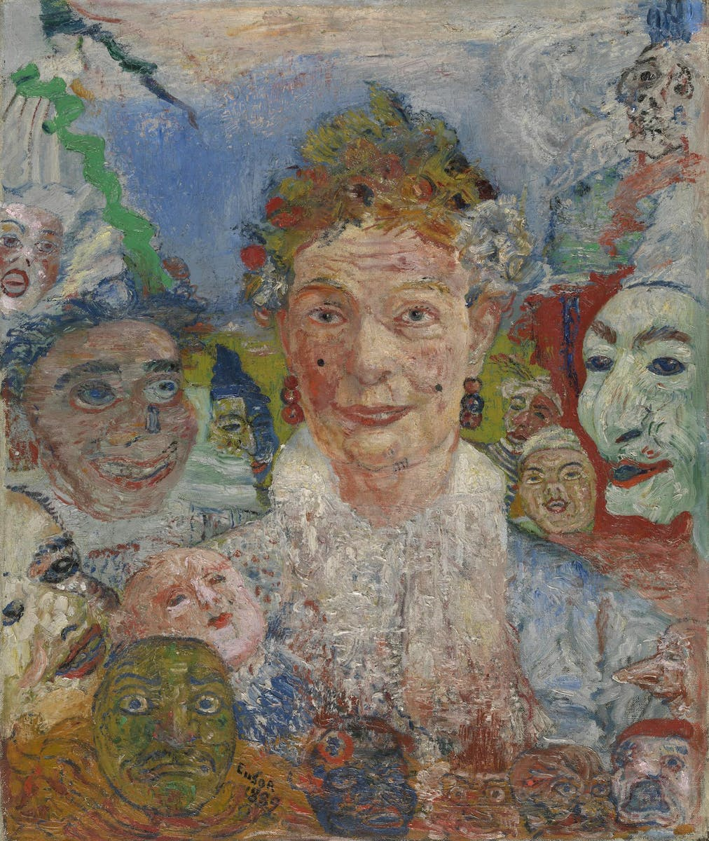 James Ensor, The old lady with masks